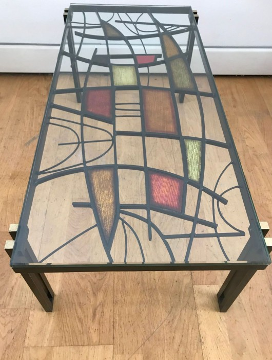 moioli gallery 1950s coffee table in painted brass and enamels in the style of studio del campo sold