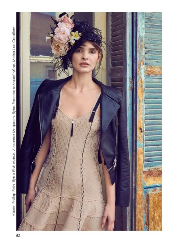 Jacket, Philipp Plein, First boutique; dress, Alexander Mcqueen, Rococo boutique; headpiece, Melina-Lee Creations