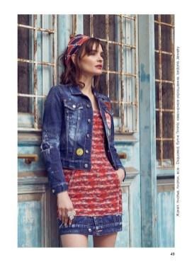 Denim jacket, dress, shawl, all - Dsquared, Timinis boutique; jewelry, Iordanis Jewelry