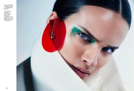 Top, Jil Sander Vintage; earrings, Elisabetta Franchi Foundation, Vitalumiere Aqua by Chanel; shadow stick, Green by Mac Cosmetics