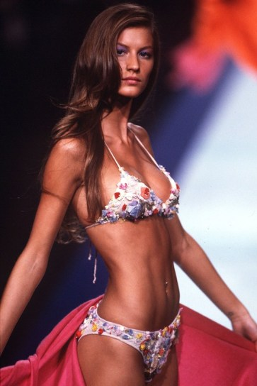 Gisele in Valentino at Paris Fashion Week, 1999