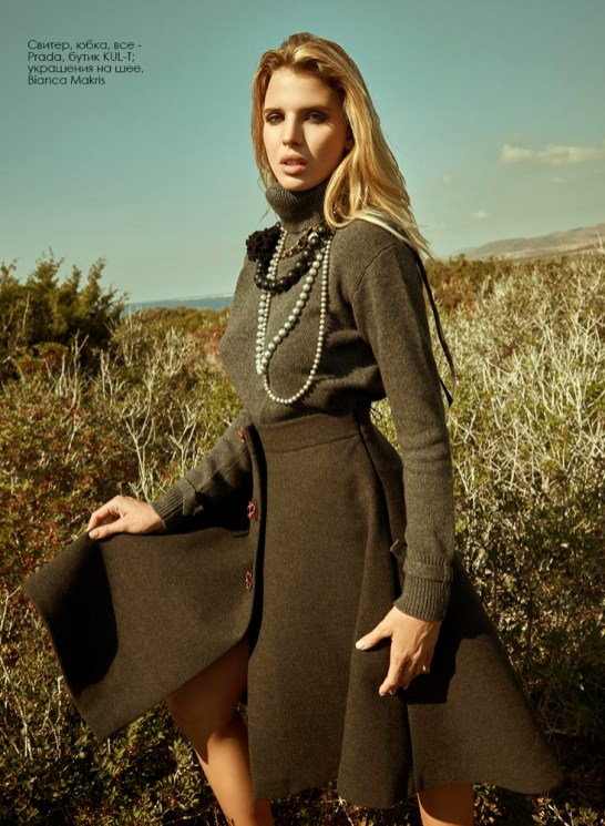 Sweater, skirt, all - Prada, KUL-T; necklaces, all - Bianca Makris