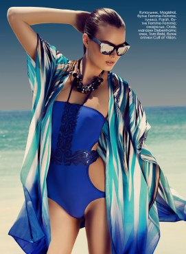 Swimsuit, Magistral, Femme-Femme Boutique, tunic, Parah, Femme-Femme Boutique; Necklace, Oasis, Debenhams; glasses, Tom Rebl, Cult of Vision.