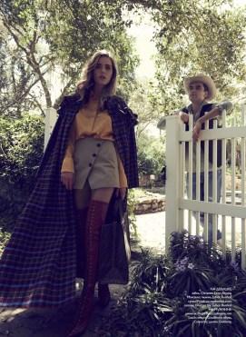 Lady: skirt, Christian Dior; blouse, Marciano; coat, Talbot Runhof; bag, Fendi boots, Unützer for Talbot Runhof. Gentleman: jeans, Hugo Boss; shirt, van Laack; vest, Gaudiherz; shoes, Converse; hat, Givenchy.