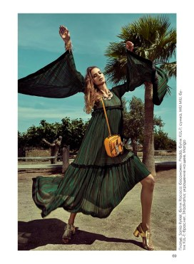 Dress, Sonia Rykiel, Rococo boutique; sandals, Prada, KUL-T boutique; bag, MIU MIU, KUL-T boutique; bracelet, Stradivarius; necklace, Mango