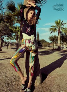 Top, trousers, scarf, tied around the waist, all - Etro, KUl-T boutique; shoes, Miu MIu, KUL-T boutique