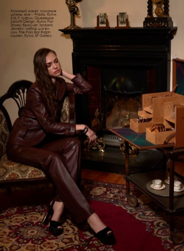 Leather jacket, leather pants, all - Prada, KUL-T boutique; shoes, Giuezeppe Zanotti Design, Fior Shoes boutique; bracelet, Iordanis Jewelry; whiskey set, The Polo Bar Ralph Lauren, 3F Gallery boutique