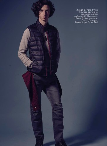 Vest, Polo, Kouross boutique; sweater (with attached shirt ), Dsquared, Timinis boutique; jeans, G-Star; shoes, Balenciaga, First boutique