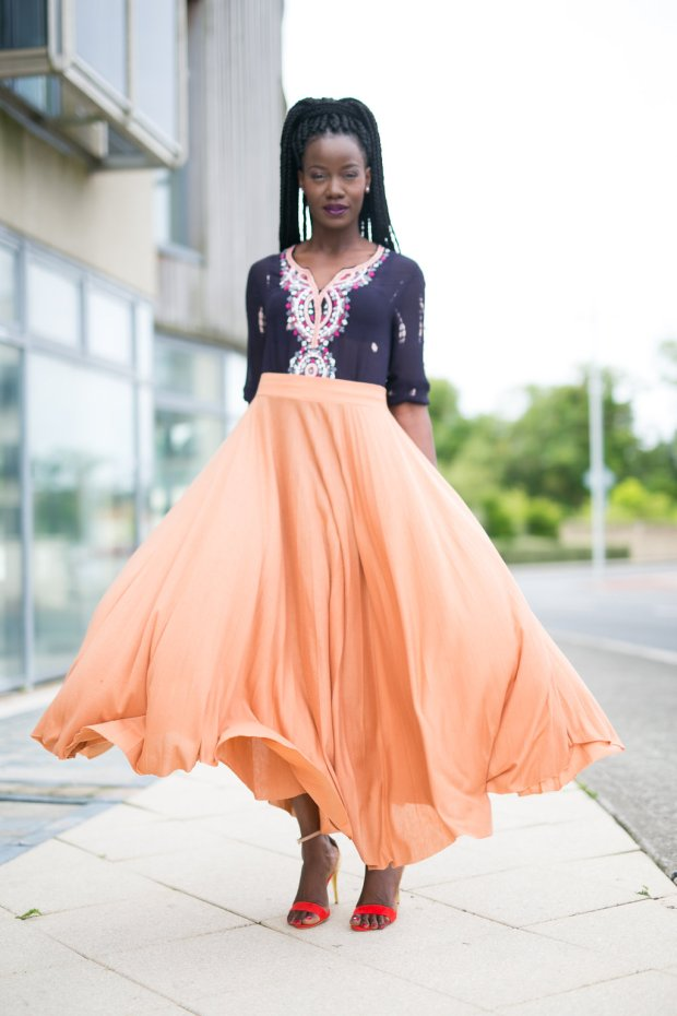 Peach_maxi_skirt_embellished_and_tunic