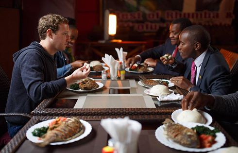 Mark Zuckerberg eats Ugali image