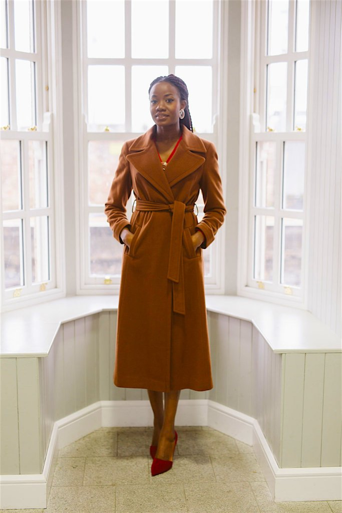 Burgundy dress & Tan Coat Image