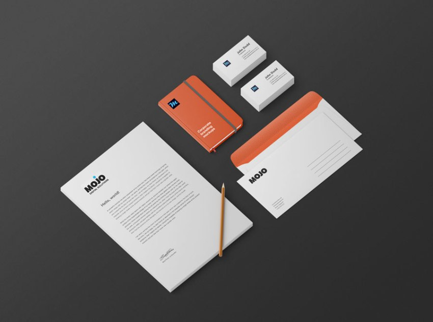 image of stationery with logos business cards