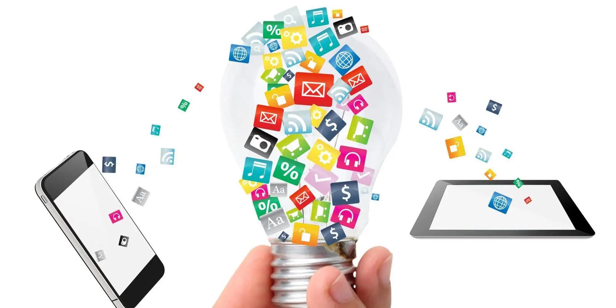 image of lightbulb social media icons