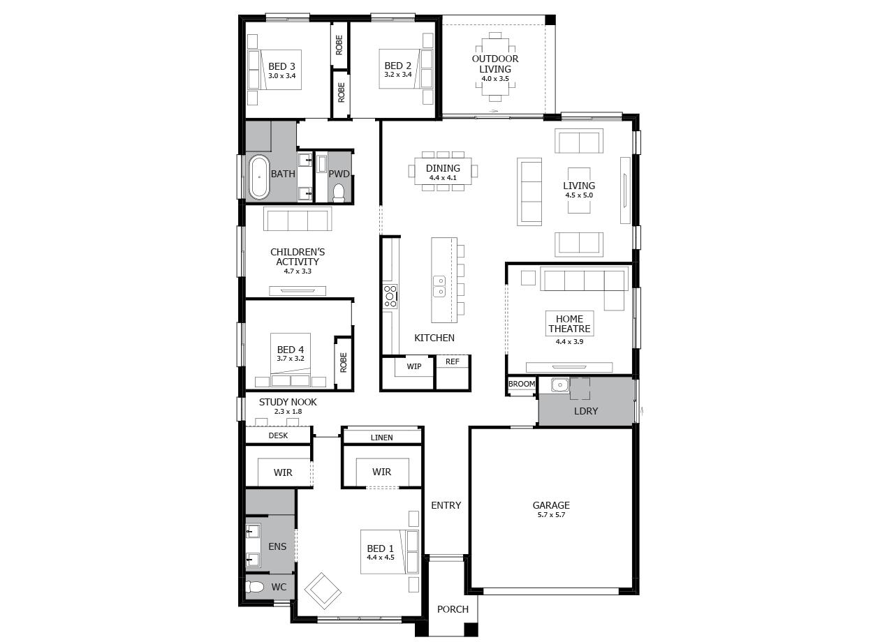 4 Bedroom Single Storey House Floor Plan