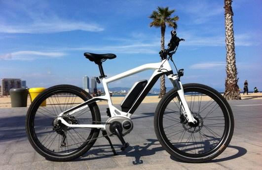 Clemens sagt: Das ist das BMW-Logo-E-Bike, das ich am Strand von Barcelona entlang geradelt bin. Wenn man den Chip austrickst, sollten über 70 km/h drin sein. Aber ich hab mich auch alt gefühlt: beim Tragen.