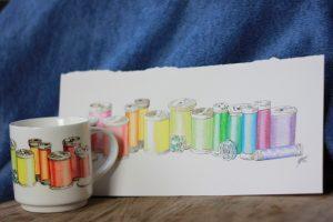 Sewing thread aquarelle on mug by ArteMie