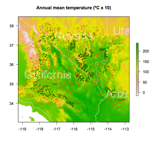 Annual mean temperature across the Mojave Desert.