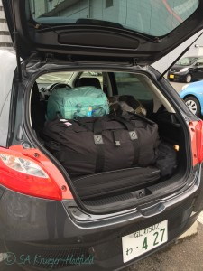 With A LOT of field gear, tiny cars in Japan and Europe can pose interesting spatial problems!