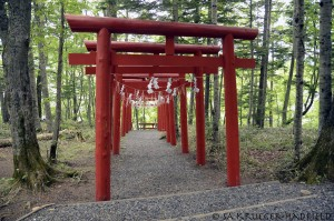 torii, 鳥居, at Akan-ko