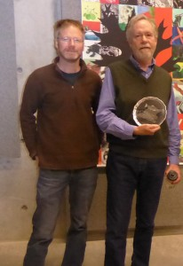 Molecular Ecology's chief editor Loren Rieseberg presents Fred Allendorf with the Molecular Ecology Prize plate. (Fred Allendorf)