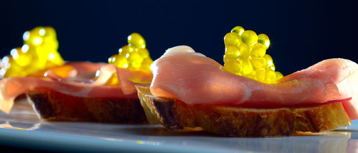 Caviaroli Olive Oil Caviar on Prosciutto