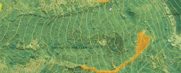 In arancione  la pericolosità  elevata della frana (Fonte webgis Protezione civile del Molise)