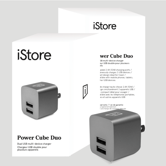 iStore Power Cube Duo Full Packaging and Product Space Grey