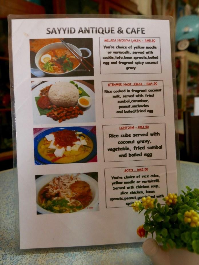 Sayyid Antique & Cafe, Melaka, Malaysia, menu