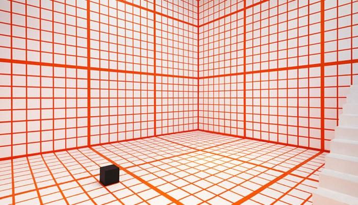 """""""Orange Grid,"""" 2013, Channa Horwitz"""