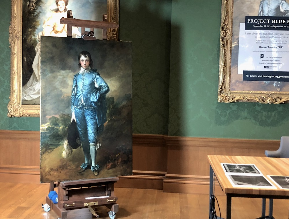 The Blue Boy on the conservation easel at The Huntington Library