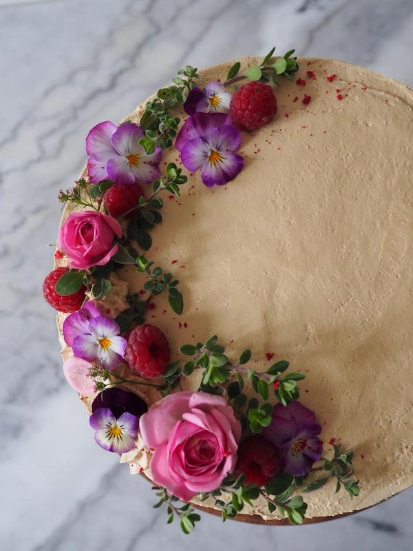 Cardamom & Coffee Cake with fresh raspberries and chocolate ganache   MOLLYJWILK