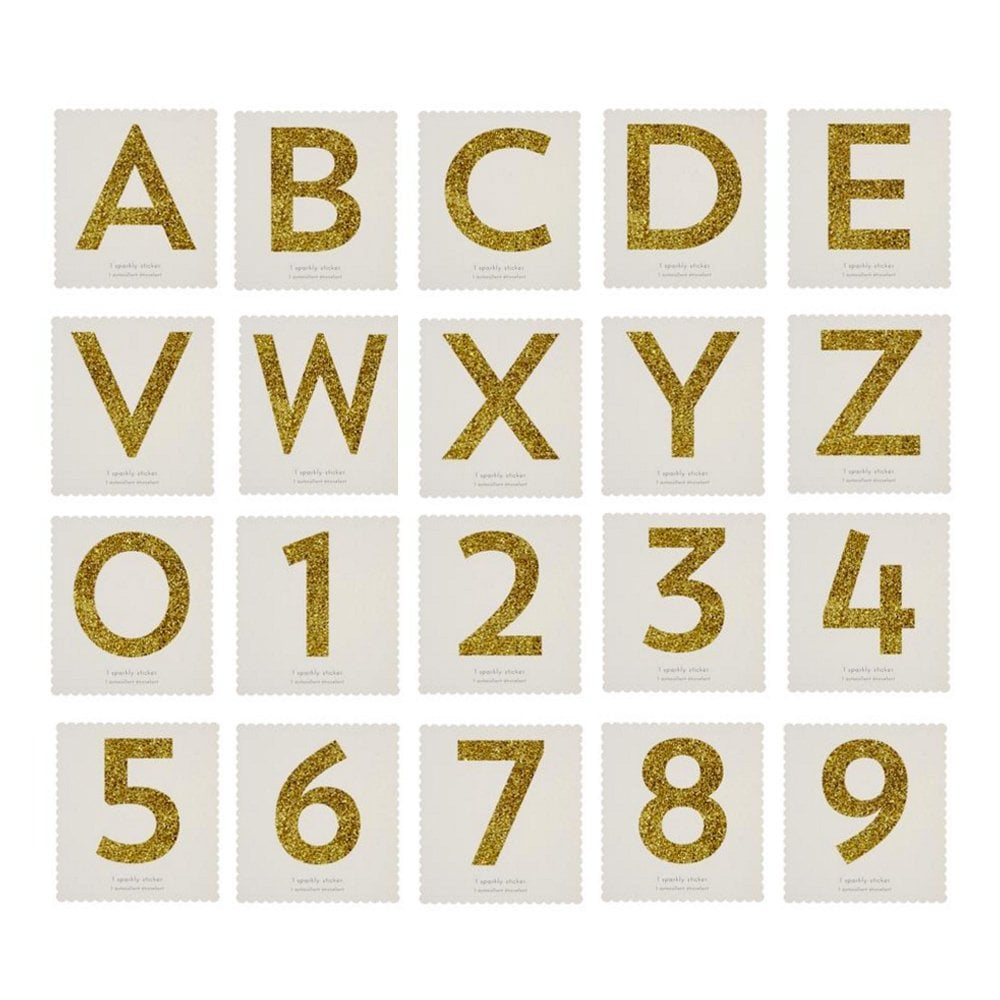 meri meri chunky gold glitter sticker numbers and letters