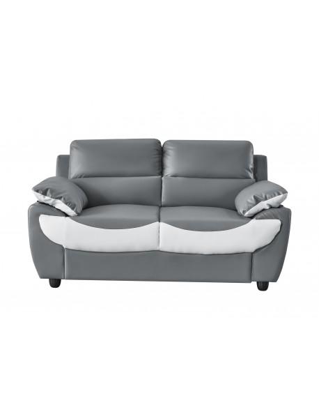 canape 2 places simili gris et blanc luxy 2p design