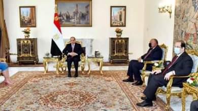 صورة الرئيس رحب بالوزيرة الليبية في مصر، مؤكداً سيادته دعم مصر الكامل للمجلس الرئاسي، وحكومة الوحدة الوطنية الليبية