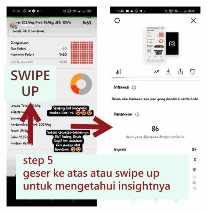 step 5 geser ke atas atau swipe up untuk mengetahui insightnya
