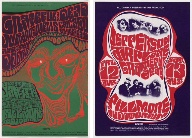 "Wes Wilson (Robert Wesley Wilson). Grateful Dea, Junior Wells, Chicago Blues Band, and The Doors. 1966. Offset Lithograph, 22 3/4 x 14"" (57.8 x 35.5 cm). Gift of Joseph H. Heil; Wes Wilson (Robert Wesley Wilson). Jefferson Airplane / Grateful Dead. 1966. Lithograph, 20 x 14 1/4"" (50.8 x 36.2 cm). Gift of the designer"