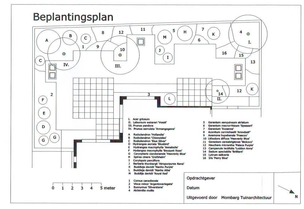 Moderne tuin 1 Beplantingsplan