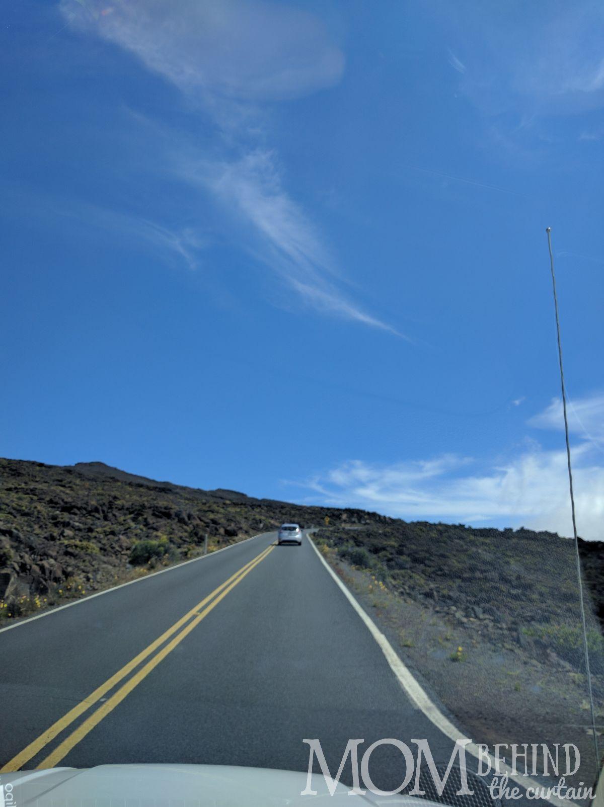Road through lava fields Haleakala Summit drive