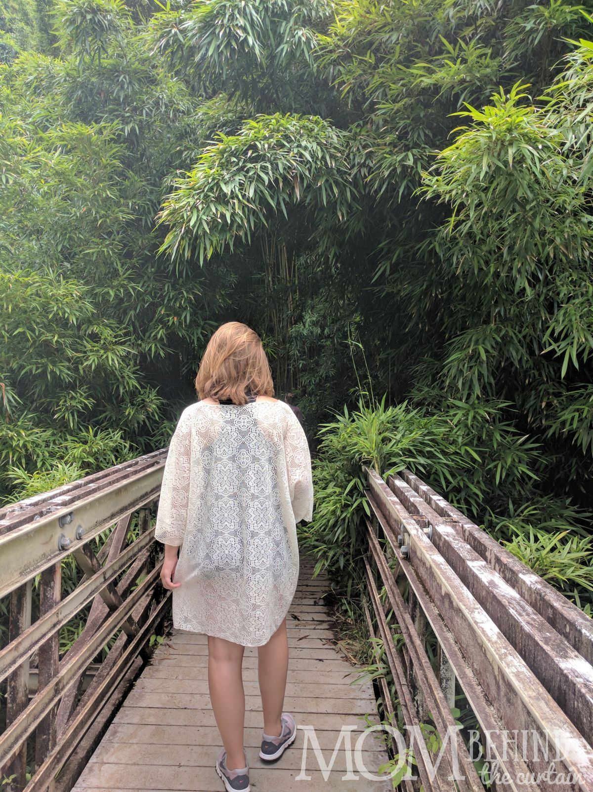 Hiker crossing bridge as you enter the Bamboo Forest, off the Road to Hana, Maui, Hawaii.