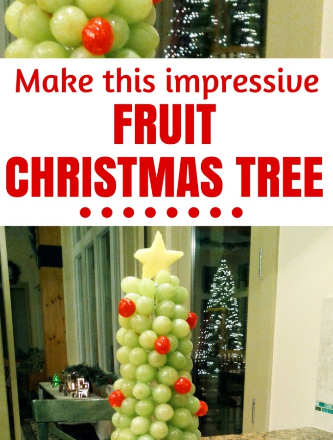 Fruit display for a kids Christamas party - Healthy doesn't have to take all the fun out of food for a Christmas party. I made this grape Christmas tree for my daughter's class party and it was a hit! Find out how to DIY!