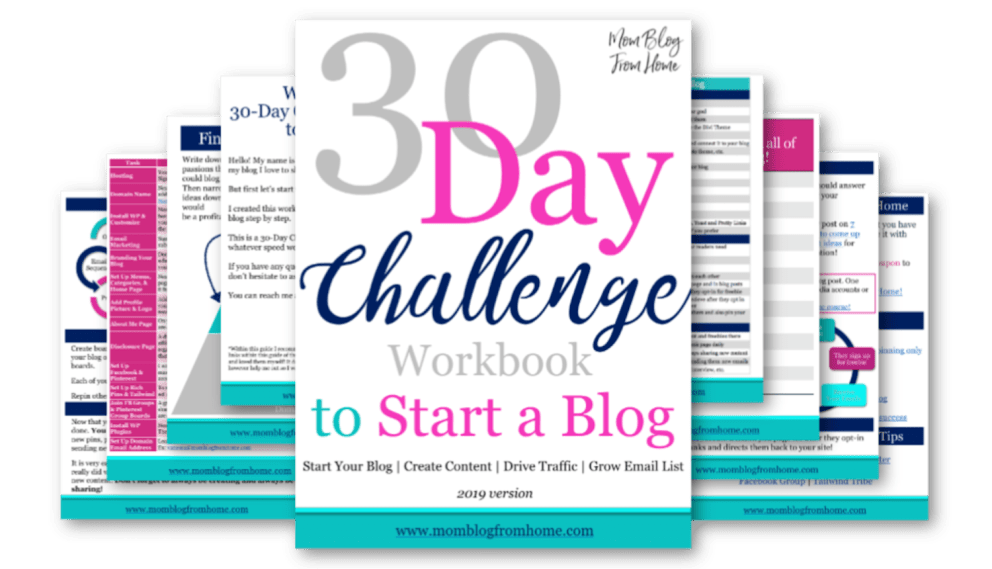 30 Day Challenge Workbook - mom blog from home