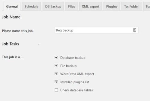 backWPup settings to backup WordPress