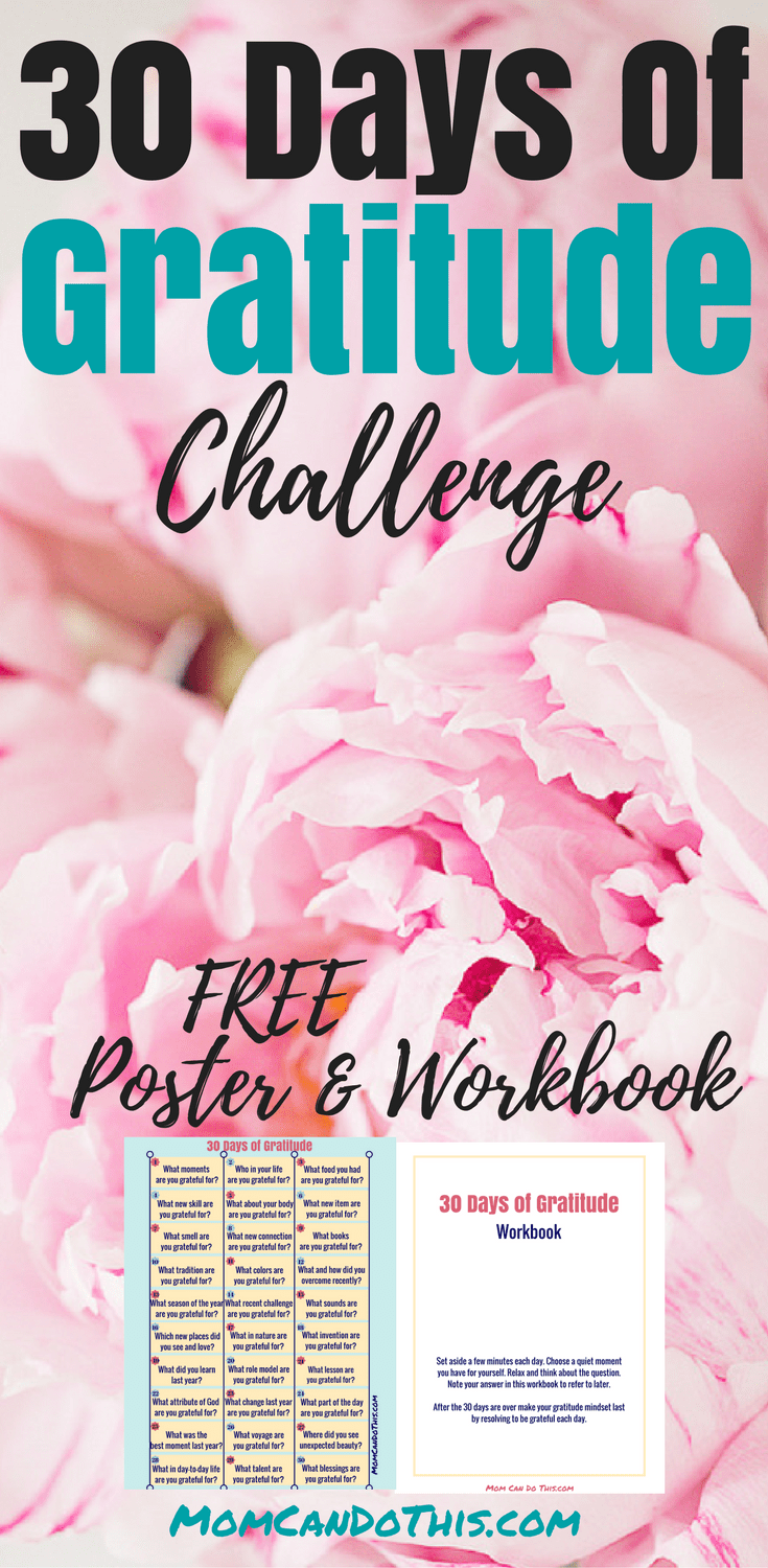 Free Gratitude Journal and a Gratitude Challenge to jumpstart being thankful each day! Use the gratitude journal prompts for your gratitude activities. Click through to download a free poster and workbook.