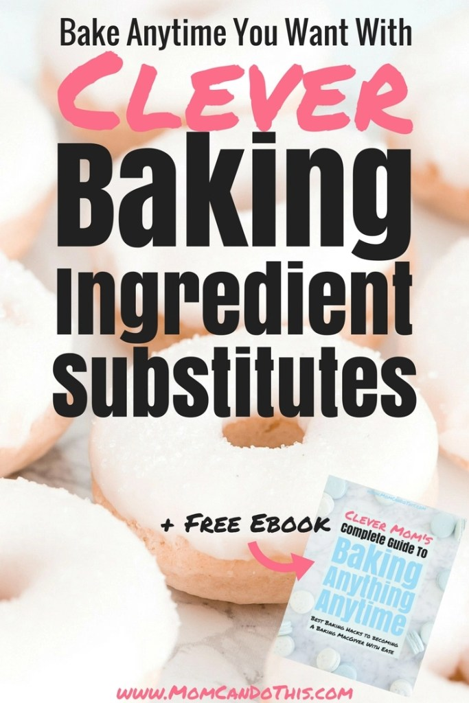Baking substitutions in a free chart. Find baking ingredient substitues for eggs, dairy, and more. Healthy baking substitutions and vegan alternatives in baking. Click through to read the full post and download a free copy of the baking guide ebook!