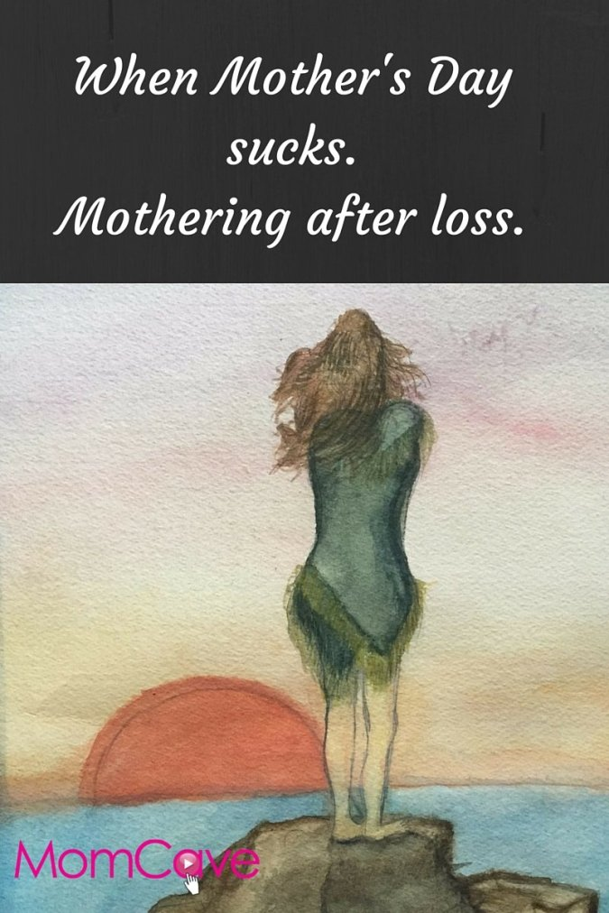 Mother's Day sucks when your mom is gone-woman alone looking out over the ocean-grief loss death MomCave