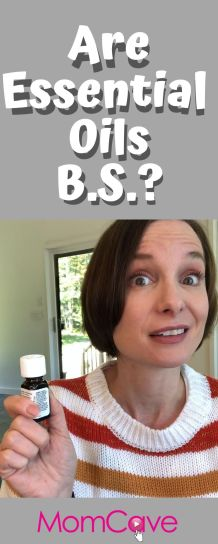 Jen holds bottle and asks are essential oils b.s.?