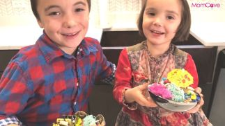 kids making fairy garden and pirate garden from holiday gifts that keep kids off screens partyn with plants kits