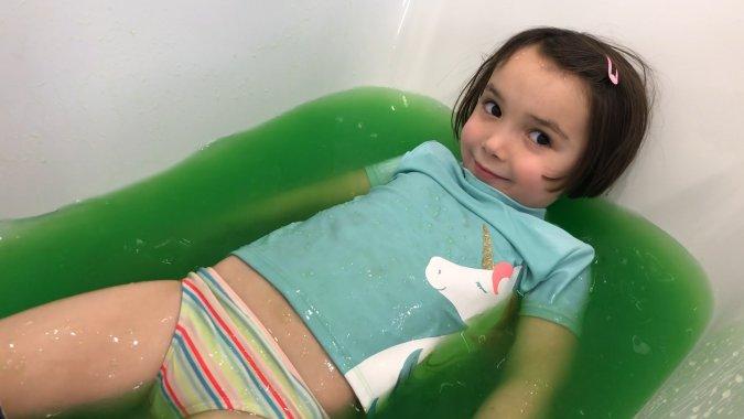Snow Day Activities -- Slime Baff Slime Bath