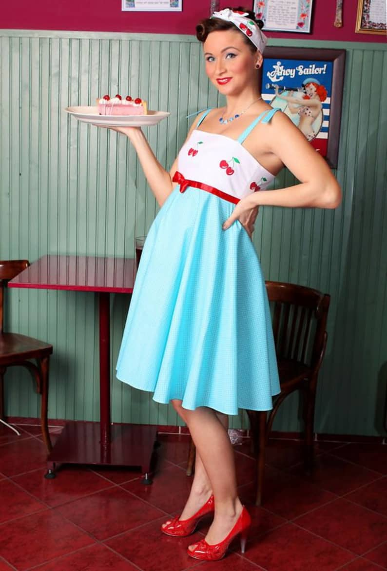 Hot Retro Maternity Dress, Cherry top and blue turquoise maternity skirt