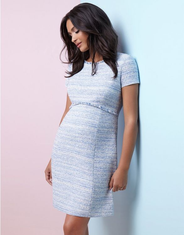 hot retro maternity dress blue boucle short cap sleeves from seraphine